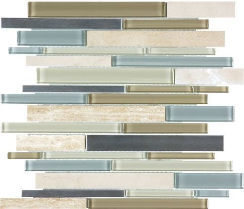Crossville Ebb Flow Linear Mosaic 12x12 Mesh Mount Sheet Sand And Surf Modern Outdoor Kitchen Glass Tile Outdoor Kitchen Design