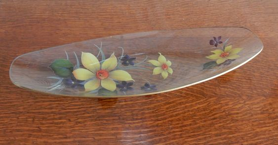 Vintage Floral Glass Tray , Dish, Utensil Rest,Shabby Chic, Retro , Boho…
