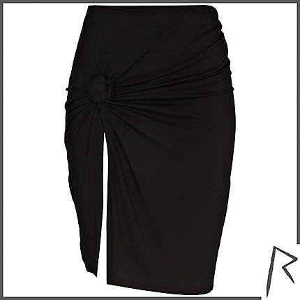 Black Rihanna for River Island knot front thigh split skirt #riverisland