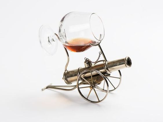Vintage Brandy Cognac Warmer with Balloon// Brandy Snifter Marked EP Brass