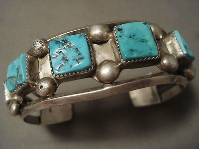 MUSEUM-VINTAGE-NAVAJO-SQUARED-TURQUOISE-SILVER-BRACELET