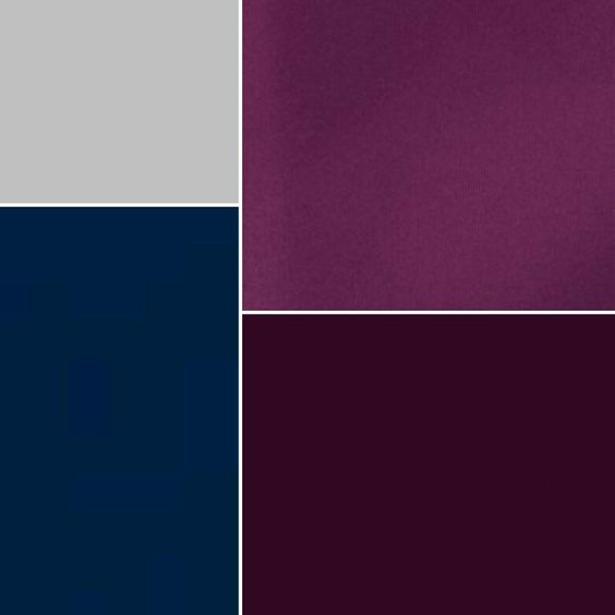 The final colors!! Sangria, aubergine,  navy & silver!