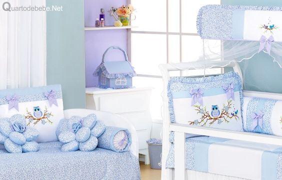 enxoval quarto bebê corujas azul branco                                                                                                                                                                                 Mais