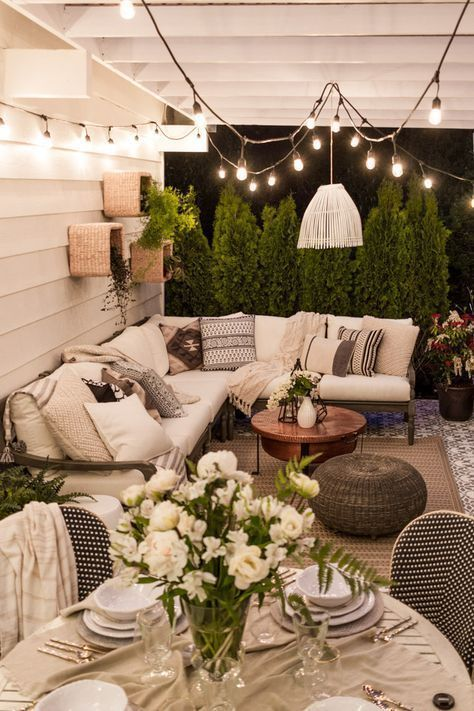 I love the look of this cute room. This space gives me inspiration and motivation to elevate my own home décor scheme. I would use some modern wall art to make this room look more like a modern home with elements of rustic, vintage and shabby chic. Ideally add throw pillows and other decorative accents to complete this beautiful, trendy room. beautiful outdoor space