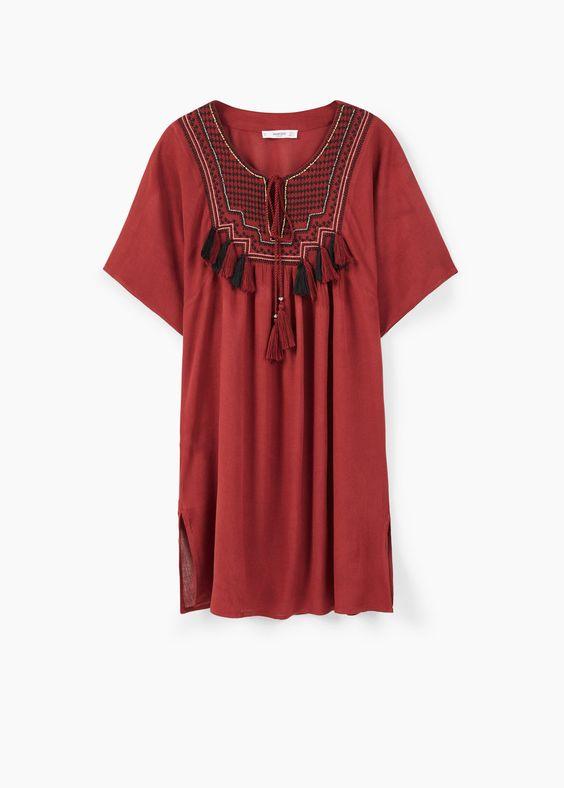 Vestido painel bordado | MANGO