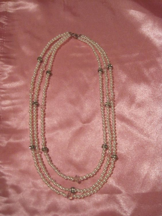 Three Strand Pearl and Crystal Necklace by RockabillyGrrl on Etsy, $40.00