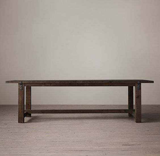 This Reclaimed Wood & Zinc Strap Dining Table from Restoration Hardware is perfect for a large dining room. This Fifth Wall Friday Design is a dining room featuring Ceilume Ceiling Tiles.  www.ceilume.com/