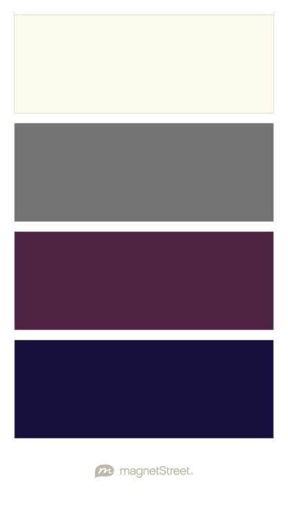 Ivory, Charcoal, Deep Purple, and Midnight Blue Wedding Color Palette - custom color palette created at MagnetStreet.com