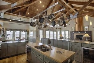 Country Kitchen with Pendant light, High ceiling, Wine refrigerator, Flat panel cabinets, Kitchen island, U-shaped, Flush