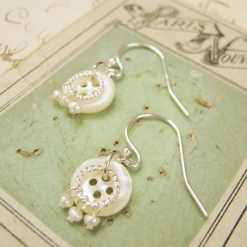 Vintage Button Charm Silver and Pearl Earrings Silver, vintage mother of pearl buttons and tiny, tiny pearls!