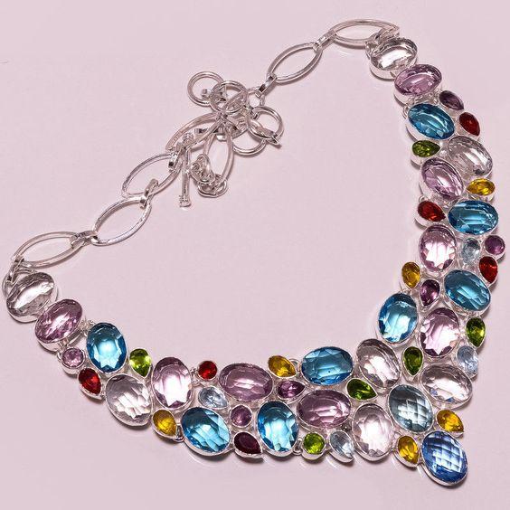 925 Sterling silver beautiful BT+ROSE QUARTZ+CRYSTAL+PERIDOT+MULT Necklace G1052 #Handmade #Necklace