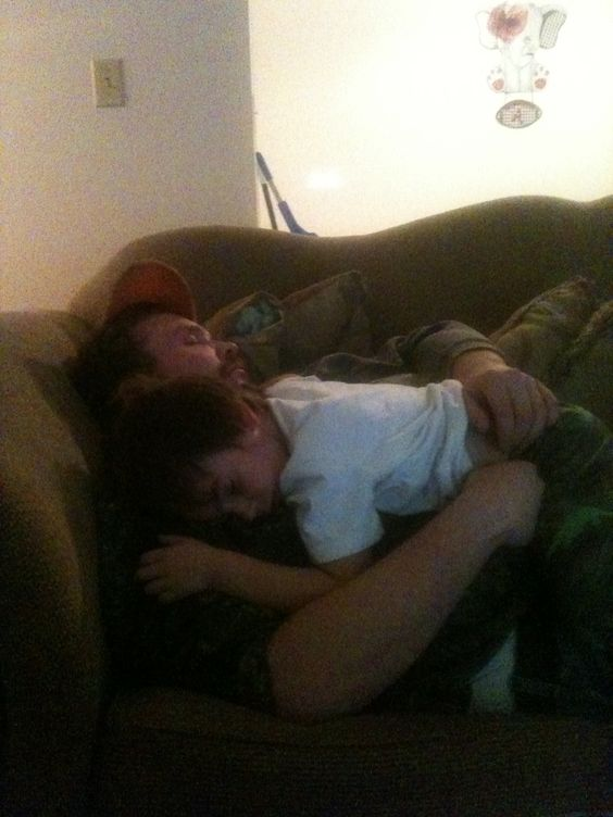 They were tired .. Logan layin on daddy..