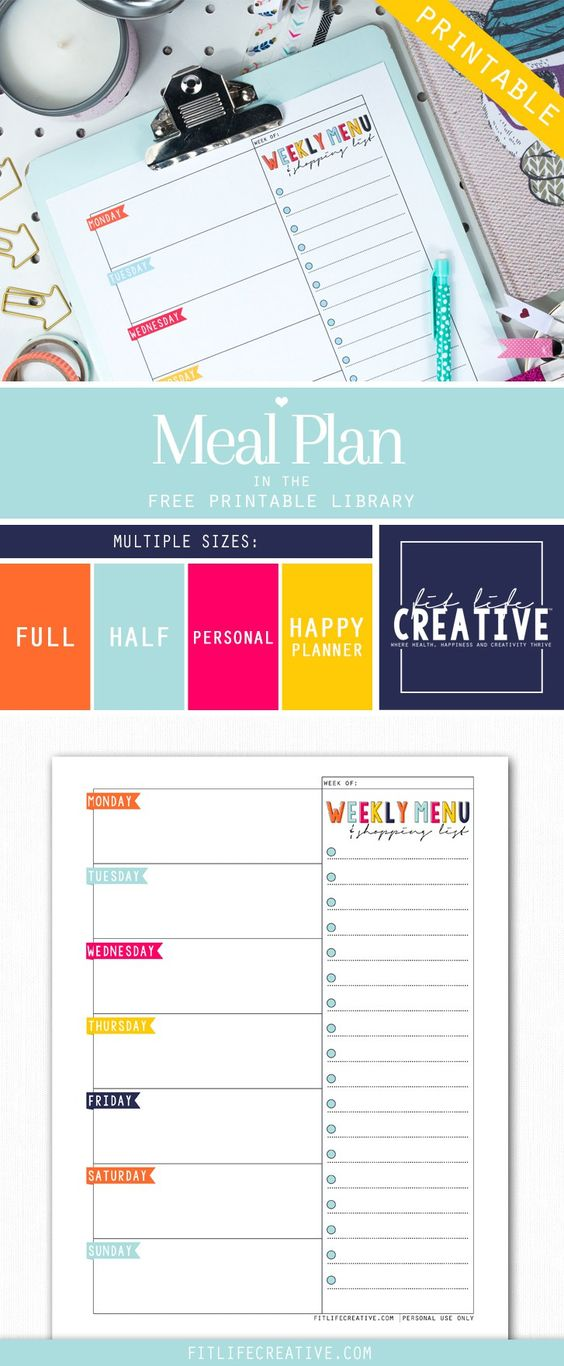Free Printable Weekly Menu and Shopping list to help you better organize your week.
