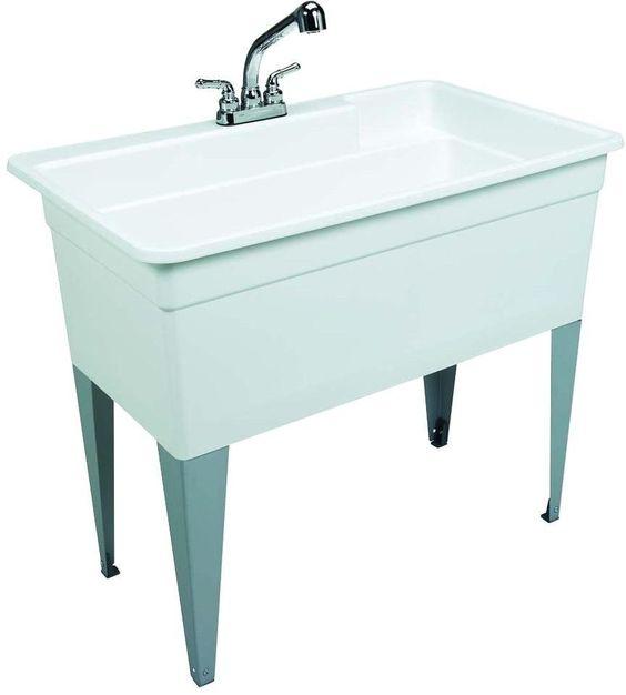 40 In. X 24 In. Polypropylene Single Floor Mount Utility Laundry Tub Sink, White #Mustee