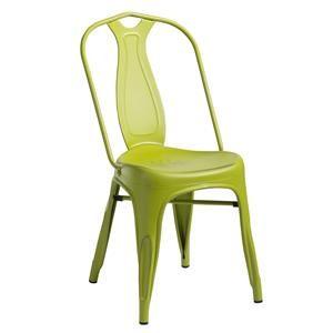Sedia in metallo spazzolato verde stile retrò invecchiato industriale