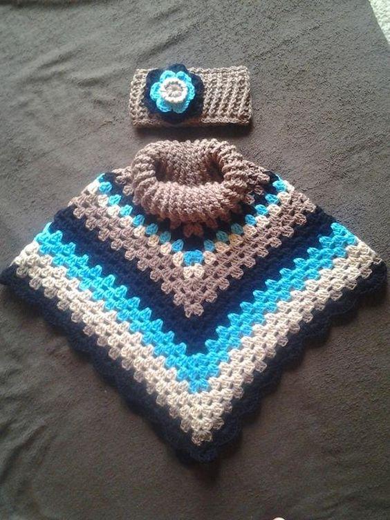 Child\'s Cowl Neck Poncho | Manta de cuadrados de la abuelita, Niños ...