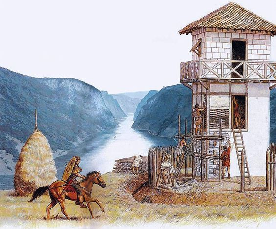 """Legionaries building a watch-tower above the Danube gorge"", Peter Connolly:"