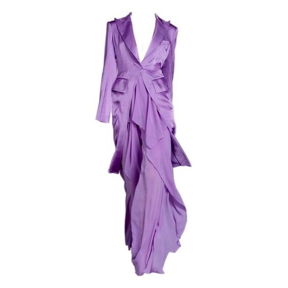 Design dress ❤ liked on Polyvore featuring dresses, gowns, gown, purple evening gowns, purple evening dresses, purple ball gowns, purple gown and purple dress