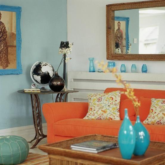 Оранжевый и голубой в интерьере | Идеи Декора для дома.Идеи Декора для дома.