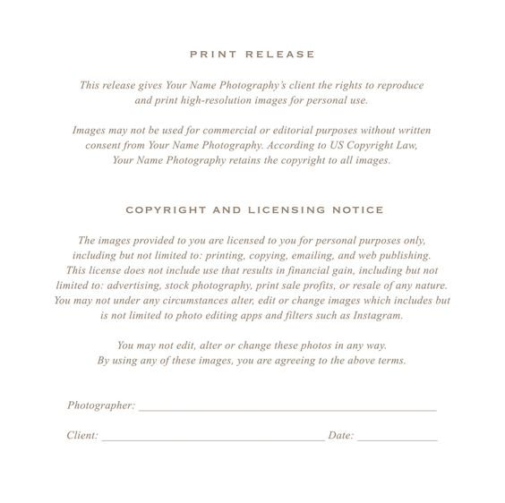 Photographer Print Release Form by Bittersweetdesignboutique on - generic release form