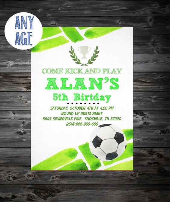 Invitación de cumpleaños de fútbol, fútbol invitación, fiesta de cumpleaños de fútbol, partido de fútbol, invitación para imprimir de futbol, 1 º, 2 º, 3 º, 4 º cumpleaños de ArtPrintHome en Etsy https://www.etsy.com/es/listing/471441055/invitacion-de-cumpleanos-de-futbol