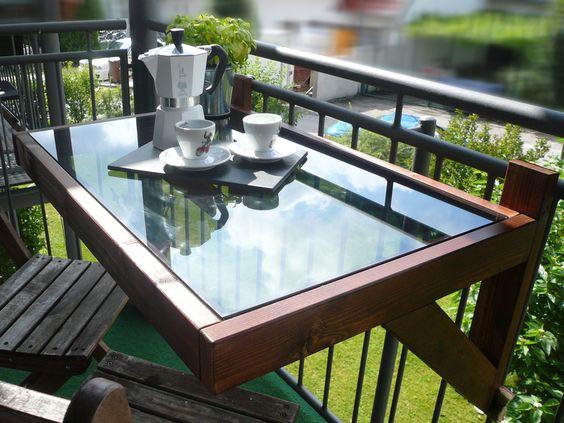 Balkontisch / Hängetisch - Holz und Glas von ElMa13 auf DaWanda.com