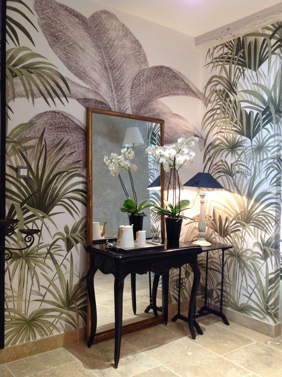 papier peint panoramique ananb d cor palmiers banos pinterest palms palm wallpaper and. Black Bedroom Furniture Sets. Home Design Ideas