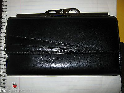 YAMANI LEATHER CHECKBOOK  TRIFOLD WALLET BLACK