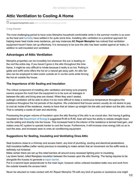 Acrepairmemphis With Images Attic Ventilation Air
