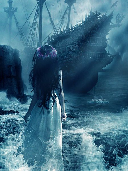 The Legend of the Black Freighter: dreamed of by a serving girl in a tavern. One day it will come, level the tavern and its obnoxious clientele if not the whole town... and then declare the serving girl Pirate Queen and sail over the horizon with her.: