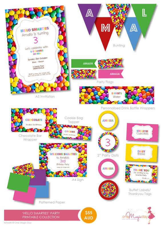 Hello Smarties  Party PRINTABLE Collection by OneMagicDayPrintable, $55.00