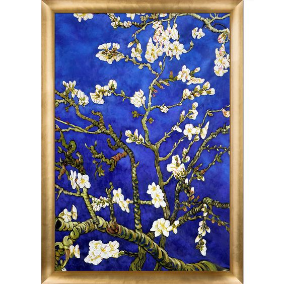 La Pastiche Vincent Van Gogh 'Branches Of An Almond Tree In Blossom Sapphire Blue' Hand Painted Framed Canvas Art