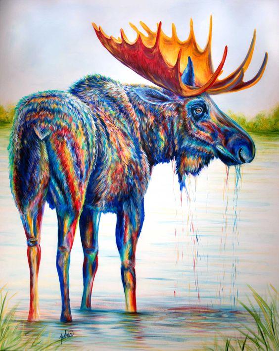 """Moose Sighting"" - Contemporary colorful moose painting by Teshia. Grand Teton Gallery, Jackson Hole Art Gallery. #wildlifeart"