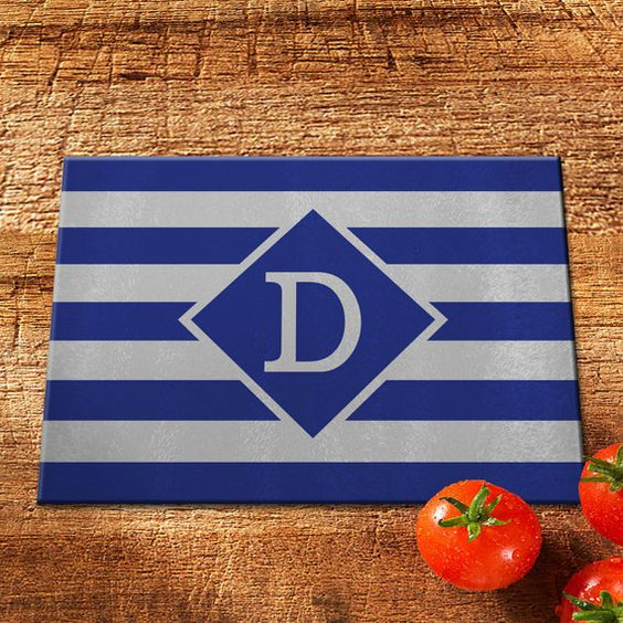 Glass Cutting Board/Personalized Cutting Board/Monogram Cutting Board/Tempered Glass Cutting Board/Custom Cutting Board/Stripe Cutting Board