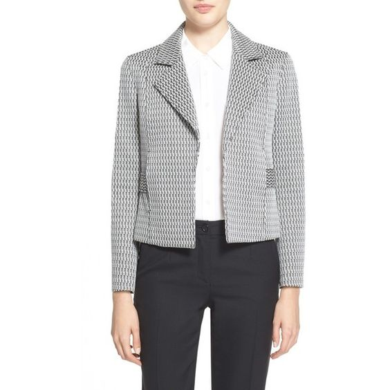 Theory 'Jine'JacquardKnitBlazer (€370) ❤ liked on Polyvore featuring outerwear, jackets, blazers, theory blazer, jacquard blazer, jacquard jacket, theory jacket and knit jacket