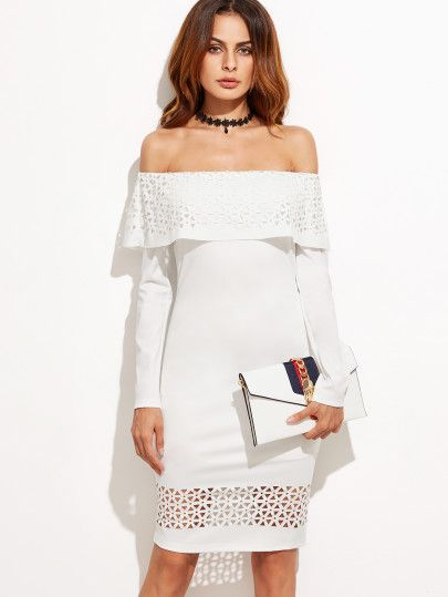 White Laser Cutout Off The Shoulder Ruffle Dress