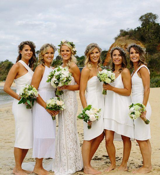 Green And White Organic Beach Wedding White Bridesmaid Dresses Beach Beach Wedding Bridesmaid Dresses Beach Bridesmaid Dresses