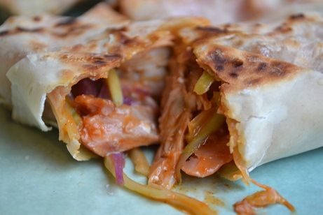 Oh so good Buffalo Chicken Wraps! Broccoli slaw, blue cheese, and some ...