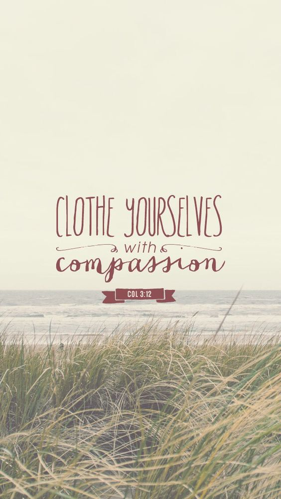 """Therefore, as God's chosen people, holy and dearly loved, clothe yourselves with compassion, kindness, humility, gentleness, and patience."" Colossians 3:12:"