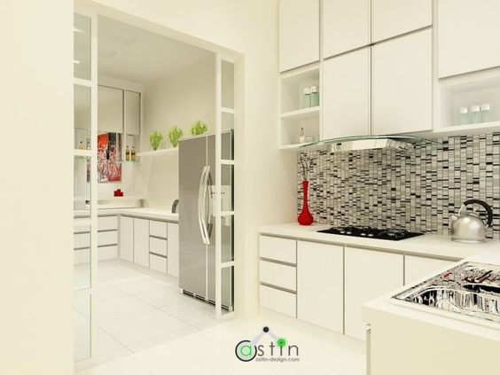 white house theme wet dry kitchen interior design