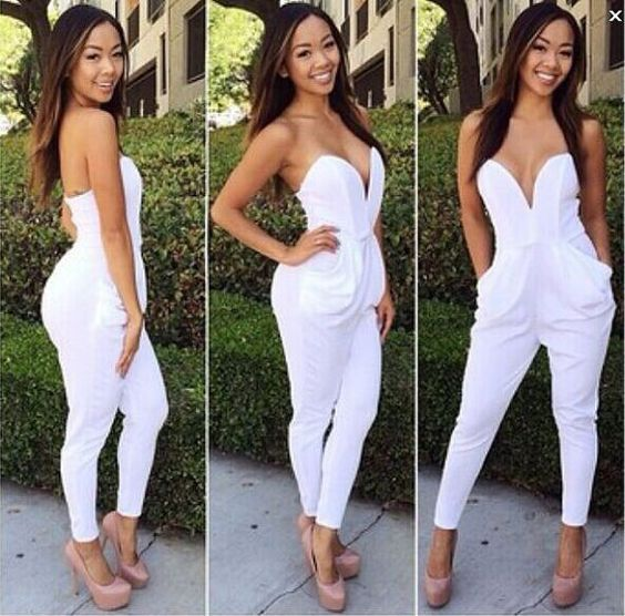 Fashion Rompers Womens Jumpsuit Sexy White Playsuit Club Bodysuits ...