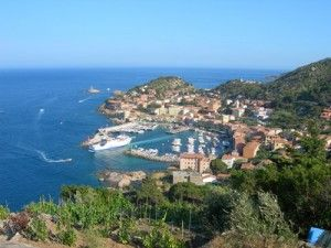 A view of Giglio Island off the coast of Tuscany in Italy.