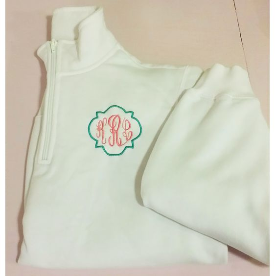 Monogrammed Quarter Zip by The Initialed Life. So cute for Spring!