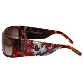 Ed Hardy Beautiful Ghost Shield Sunglasses: Tortoise/Brown Gradient Ed Hardy. $154.00