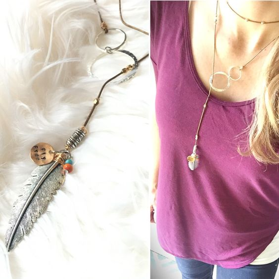 Fly Free, boho choker, boho lariat, hand stamped, leather cording, feather necklace by JustStampItGifts on Etsy https://www.etsy.com/listing/464894335/fly-free-boho-choker-boho-lariat-hand
