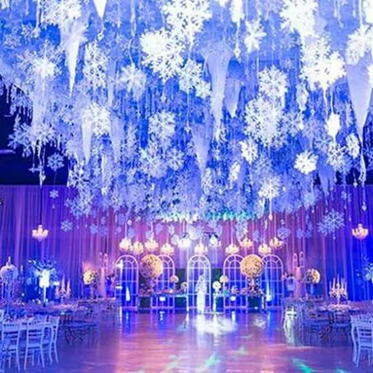 Winter Wonderland Christmas Wedding Ideas.Snowflakes Icicles Ceiling Decor Wedding In 2019