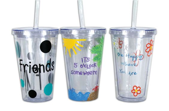 Decorated Tumblers by Megan G. A project sheet for this project can be found here: http://www.craftsdirect.com/default.aspx?PageID=311&ProjectID=783