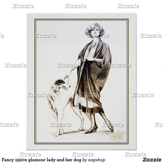 Extravagante Zwanzigerjahre Glamourdame und ihr Poster