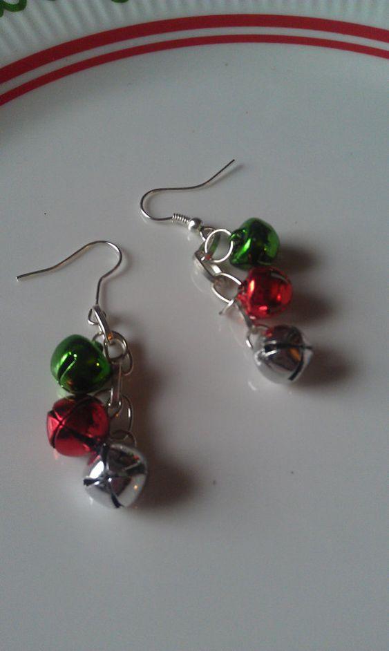 Jingle Bell Christmas Earrings/Christmas Jewelry by MyMetalHeart, $6.50