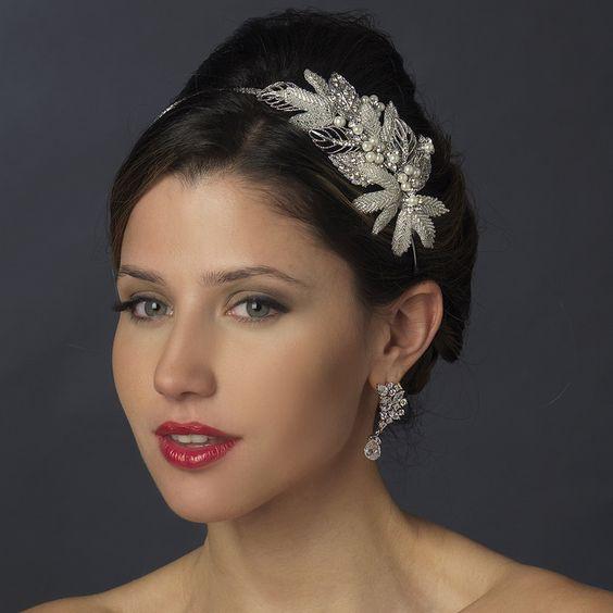Crystal and Pearl Leaf Side Accent Wedding Headband - beautiful! - Affordable Elegance Bridal -